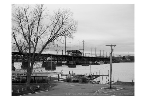 BW photograph of an Amtrac Bridge in Havre de Grace