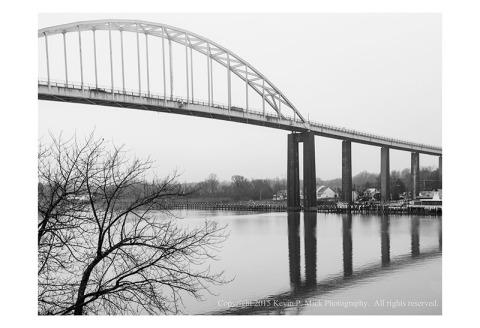 BW photograph of the Chesapeake City bridge