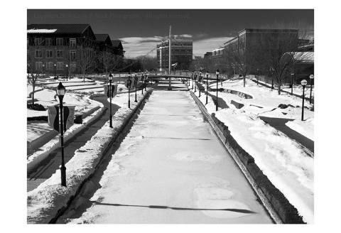 BW photograph of Carroll Creek in Frederick, Md looking west after the snow