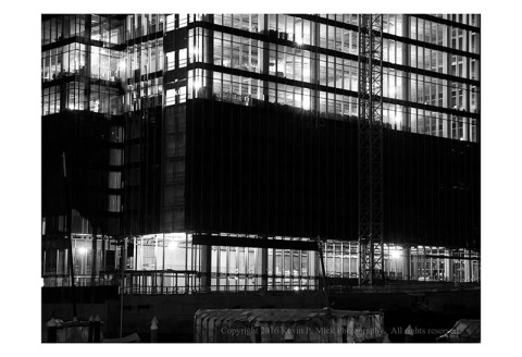 BW photograph of a building under construction