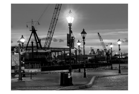 BW photography of a pier in Fells Point at sunrise