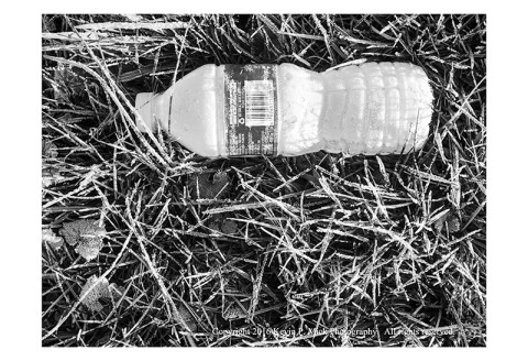 BW photograph of a frozen, frosty, water bottle laying in the grass
