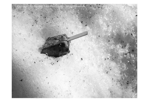 BW photograph of a popsicle stuck in a snow drift