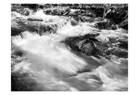 BW photograph of Big Hunting Creek after snowmelt