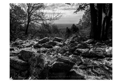 BW photograph of a low-angle shot of Thurmont Vista with a prominent rock in the foreground.