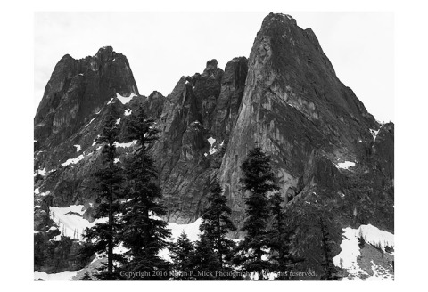 BW photograph of some peaks in the North Cascades around Washington Pass.