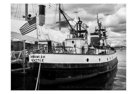 BW photograph of the Duwamish, and old tug at the Center for Wooden Boats in Seattle, WA.