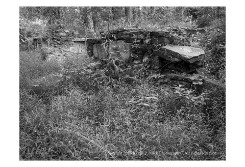 BW photograph of the remains of the second Bachelor Boarding House at Oregon Ridge.