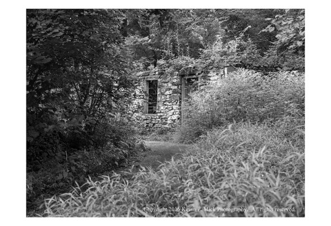 BW photograph of the remains of the first Bachelor Boarding House at Oregon Ridge.