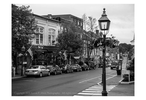 BW photograph of Front Street in Bath, Maine.
