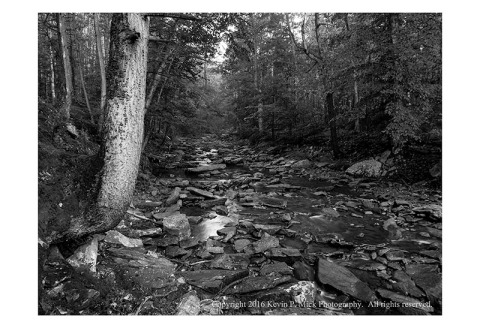BW photograph of Big Hunting Creek looking west upstream.