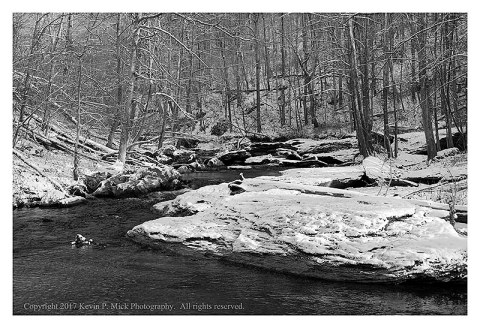 BW photograph of the first snow of 2017 at Morgan Run-this is the water.