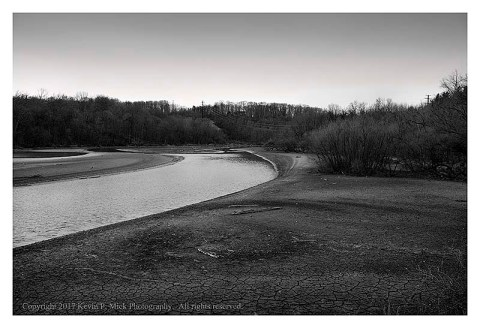 BW photograph of the Patapsco River at a low water level on February 21, 2017.