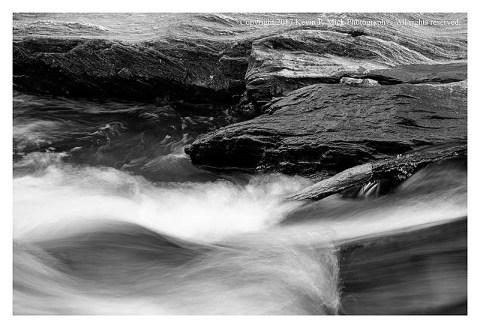 BW photograph of the water running at Morgan Run.