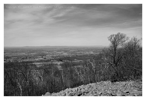 BW photograph looking west over the valley from South Mountain.