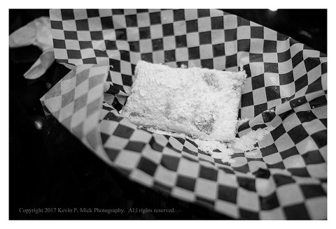 BW photograph of a beignet at Little Jewell of New Orleans in Los Angeles.