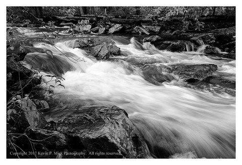 BW photograph of Big Hunting Creek after a heavy rain.