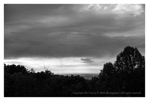 BW photograph of rain clouds over Thurmont from the Hog Rock Overlook.