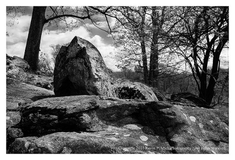 BW photograph of rocks at Spangler's Spring with trees and clouds in the background.