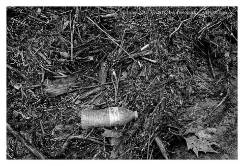 BW Photograph of a water bottle amid debris at Morgan Run after a heavy rain.