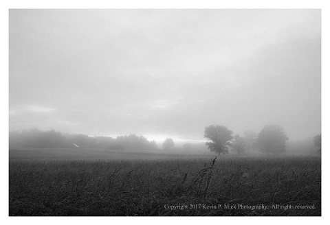BW photograph of a foggy morning looking across a field.