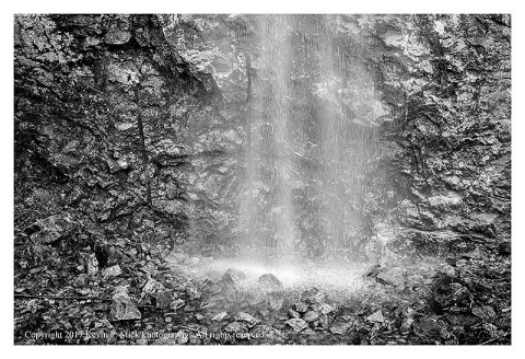BW photograph of a run-off waterfall at Diablo Lake in the North Cascades.