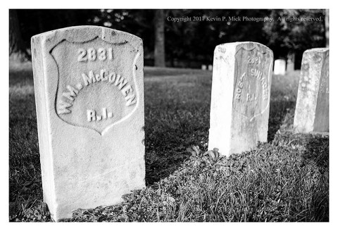 BW photograph of a grave at the Antietam National Cemetery-the soldier was from Rhode Island.