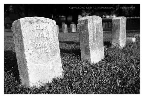 BW photograph of a grave at the Antietam National Cemetery-the soldier was from Wisconsin.