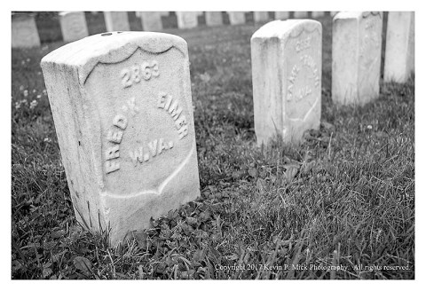 BW photograph of a grave at the Antietam National Cemetery-the soldier was from West Virginia.