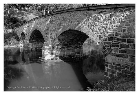 BW photograph of Burnside Bridge at the Antietam Battlefield-this is from the Union side.