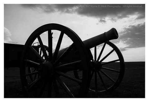 BW photograph of a cannon on the Antietam Battlefield.