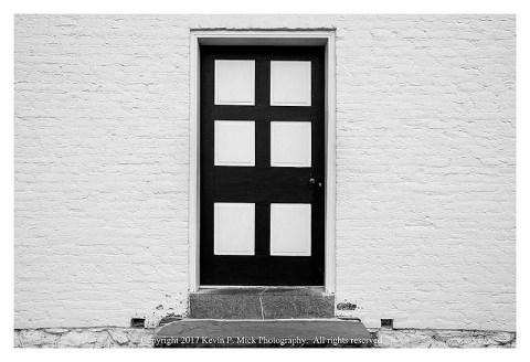 BW photograph of the door to the Dunker Chapel, which was a centerpiece of the battle at Antietam.
