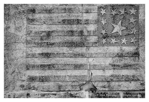 BW photograph of a Civil War era flag at Antietam.