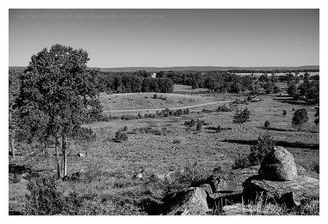 BW photograph overlooking the battlefield from Little Round Top at Gettysburg.
