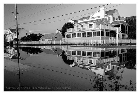 BW photograph of the Hurricane Jose's flooding of Bethany Beach.
