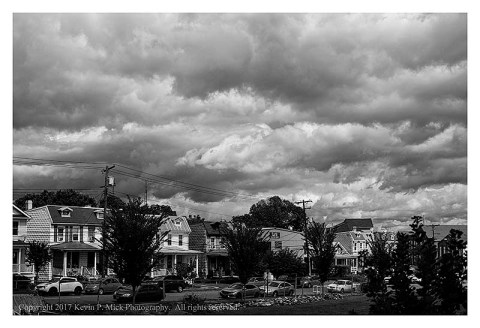 BW photograph of clouds over Frederick. MD.