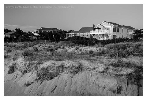 BW photograph of the dunes and beach erosion at Bethany Beach.