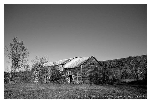 BW photograph of an old barn in WVa.
