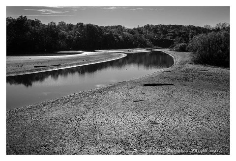 BW photograph of the mud flats left as the Patapsco River recedes due to the lack of rain.