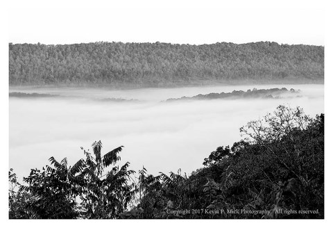 BW photograph of fog in a WVa valley.