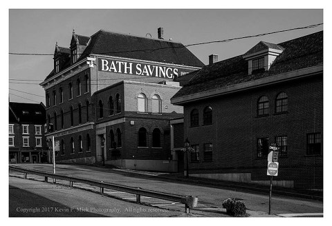 BW photograph of the side/back of Bath Savings, in Bath, ME.