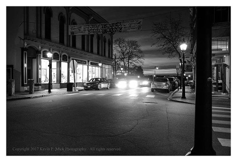 BW photograph of Front Street in the early morn. Bath, ME.