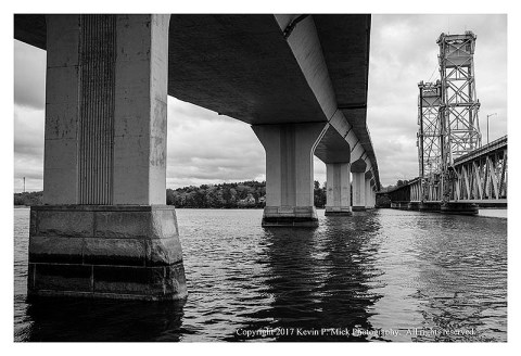 BW photograph of the trestles for a bridge over the Kennebec River in Bath, ME.