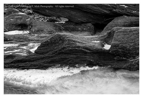 BW photograph of a section of Morgan Run frozen by winter temps.