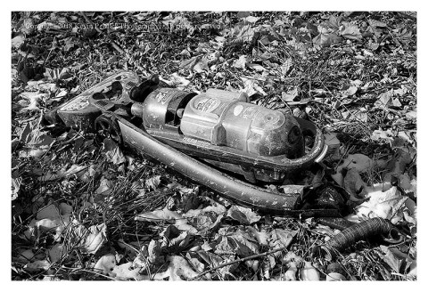 BW photograph of a Bissell vacuum cleaner laying in the leaves-back view.