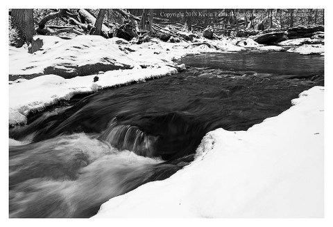BW photograph of Morgan Run after a recent snowfall in a cold spell.