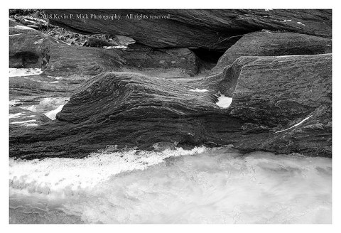 BW photograph of an icy Morgan Run and some rocks.