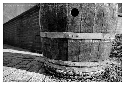 BW photograph of a barrel a the entrance to the Harpers Ferry Visitors Center.