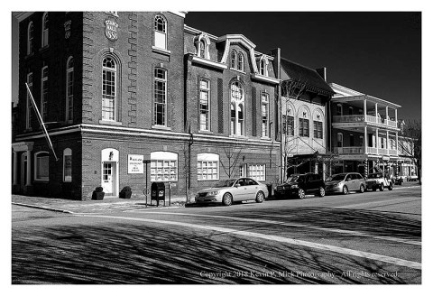 BW photograph of the main intersection in Chestertown, MD.