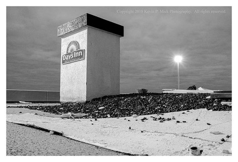 BW photograph of the Days Inn sign at Ocean City, MD.